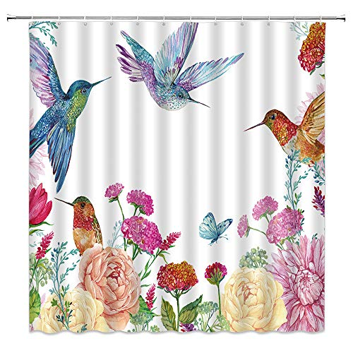 Hummingbird Flower Shower Curtain,Watercolor Butterfly Bird Peony Rose Lily Green Leaf Spring Summer Plant Fairy Tale Nature ,Polyester Cloth Fabric for Bathroom Curtains Decor with Hooks,70 x70 Inche