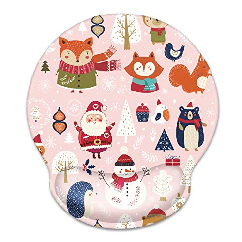 WAVEYU Ergonomic Mouse Pad with Wrist Support, Decorative Mouse Mat for Chritmas Women Non-Slip Rubber Base Mousepad for Desk Laptop Gaming Working Computers Easy Typing & Pain Relief, Pink