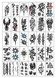 KGMIXL Único 30 unids/Set Dragon Skull Totem Word Word Henna Fake Tatoo Impermeable Sexy Tatuajes Temporales Temporales para Hombres Manos Brazo Cuerpo Tatuajes temporales (Color : Black)
