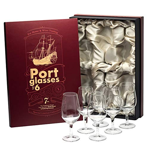 Port and Dessert Wine, Sherry, Cordial, Aperitif Tasting Glasses | Set of 6 Small Chrystal 7 oz Sippers | Mini Short Stem Nosing Taster Copitas | After Dinner Drink Glassware
