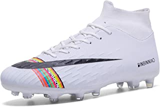 CR Soccer Shoes for Big Boy - Messi Turf Indoor Youth Football Shoes - High Top Ankle Boots Colorful Ribbon for Women - Outdoor Training TF/AG Men Size