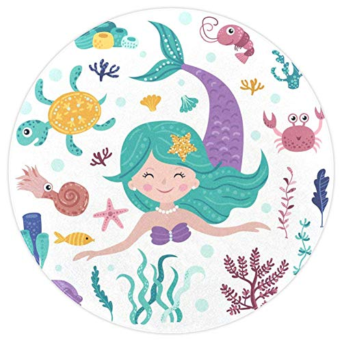 Smiling Mermaid Small Shag Soft Round Area Rugs Outdoor Circle Rugs for Boy and Girl Castle Playmat for Kids Bedroom Baby Room Best Gift for Your Children 4 ft