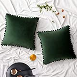 Woaboy Pack of 2 Velvet Throw Pillow Covers Pompom Decorative Pillowcases Solid Soft Cushion Covers with Poms Square for Couch Sofa Bedroom Car 18x18inch 45x45cm Dark Green