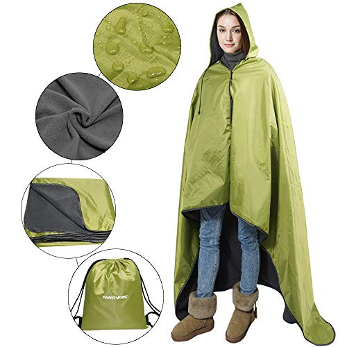 FANCYWING Hooded Stadium Blanket, Waterproof Windproof Outdoor Fleece Blanket,Wearable Portable Hooded Stadium...