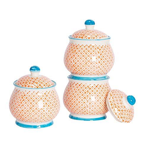 Nicola Spring Bol/Pot à Sucre à Motifs avec Couvercle - Orange/Bleue x3
