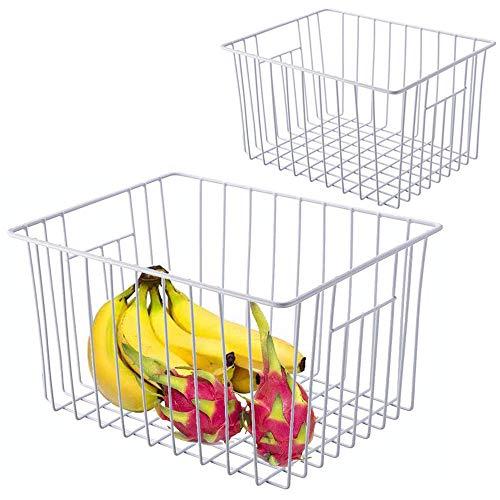SANNO Freezer Wire Storage Organizer Basket, Refrigerator Storage Baskets Bins Organizer with Built-in Handles for Cabinets, Pantry, Closets, Bedrooms – Set of 2