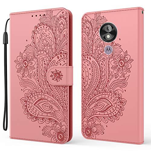 Funda para Moto G7Power [función atril] [compartimento para tarjetas] Funda de piel para Motorola Moto G7 Power – DEYX010506 Rosa