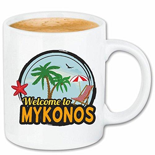 Reifen-Markt Taza de café con texto 'Welcome to Mykonos' – Surfen – Buceo – Diving – Paradisés de cerámica 330 ml en color blanco