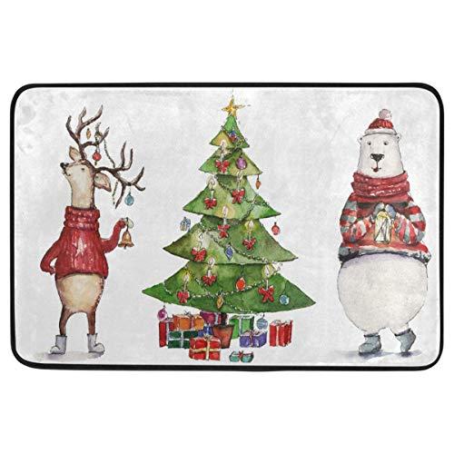 Joe-shop Felpudo Decorativo de Navidad Árbol de Navidad Luz Ciervo Oso Feliz Navidad Bienvenido Interior al Aire Libre Entrada Baño Alfombrillas 60x39 Pulgadas