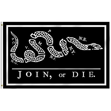 Anley Fly Breeze 3x5 Foot Black Join Or Die Flag - Vivid Color and UV Fade Resistant - Canvas Header and Double Stitched - Rattlesnake Flags Polyester with Brass Grommets 3 X 5 Ft