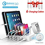 Soopii Quick Charge 3.0 60W/12A 6-Port USB Charging Station for Multiple Devices, 6 Short Charging Cables Included, I Watch Charger Holder,for Phones, Tablets, and Other Electronics,White