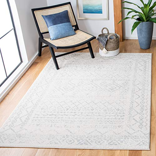Safavieh Tulum Collection TUL268B Moroccan Boho Distressed Non-Shedding Stain Resistant Living Room Bedroom Area Rug, 6' x 9', Ivory / Light Grey