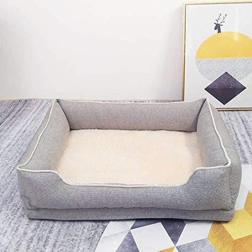 Zisita Hondenbed, zacht, voor huisdieren, fleece, warm, voor katten, voor bed, huis, bank, voor kleine en middelgrote honden, grijs, L