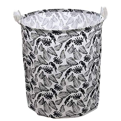 Storage Baskets Round Washing Laundry Bin Household Laundry Basket Durable with Handles Stylish Look Waterproof for Cupboards Wardrobe Clothes Magazines Newspapers
