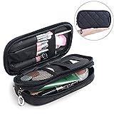 Samtour Makeup Bag Portable Makeup Pouch Makeup Brush Holder 2 Layer Cosmetic Organizer