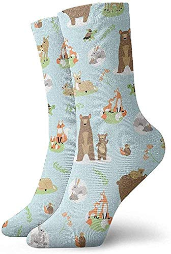 hdyefe Lässige Crew Socken, Custom Neuheit Socken, Lustige Socken, Halloween Cosplay Socke, Frauen/Männer Sportsocken, Fox Bear Deer Mutter und Sohn 30CM Fußball Socken Klassische Socken Röhrensocken