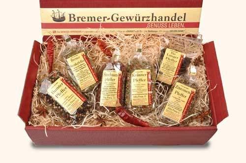 Bremer Gewürzhandel - Genuss-Box - Wo der Pfeffer wächst - Geschenkset Pfeffer - Auswahl aus 6 Pfeffersorten - Grundausstattung