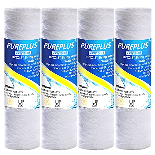 5 Micron 10'x2.5' Whole House String Wound Sediment Filter for...