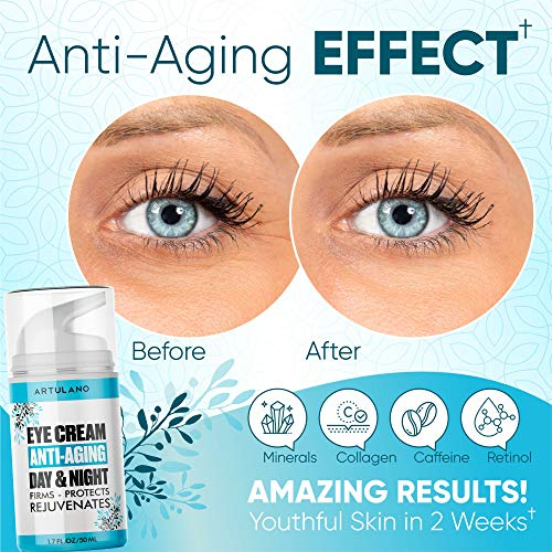 Under Eye Cream Serum For Dark Circles and Puffiness - with Hyaluronic Acid - Vitamin C + E - Anti Aging Complex to Reduce Eye Bags, Wrinkles, Fine Lines, Puffiness - Made in Usa - 1.7 oz