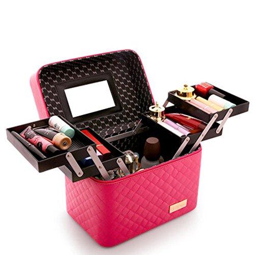 Red Neceseres para maquillaje Gran capacidad Simple Portátil Multi-capa Inicio Multifuncional Caja almacenamiento Bolsas maquillaje viajes Neceser mujer Con espejo-Rose Red A 28x18x16cm(11x7x6inch)