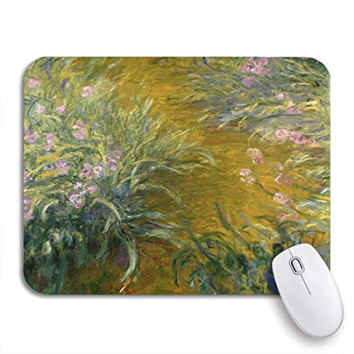 Gaming Mouse Pad The Path Through Irises by Claude Monet 1914_17 French Nonslip Rubber Backing Computer Mousepad for Notebooks Mouse Mats