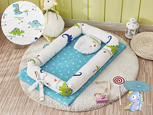 Brandream Baby Nest Bed Dinosaur, Baby Lounger/Nest/Pod/Cot Bed/Sleeping, Prefect for Co-Sleeping 100% Cotton Breathable & Hypoallergenic (0-24 Months)
