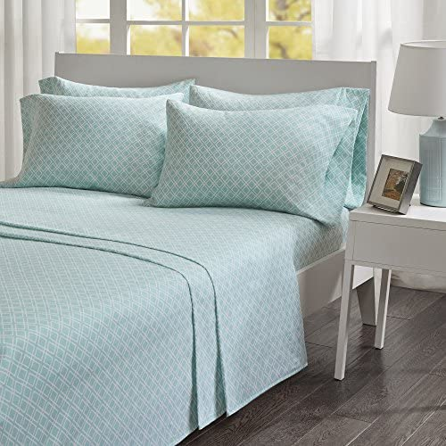 Comfort Spaces Cotton Flannel Breathable Warm Deep Pocket Sheets With Pillow Case Bedding, Queen, Geo Aqua