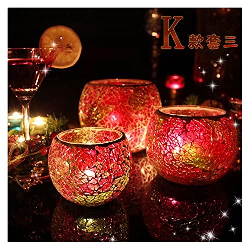 WENMENG2021 Decoración de candelabros cónicos Mesa de Cena de Mosaico Mesa de Comedor Vela Decoración Vela Luz Cena Props Nordic Hogar Vela Lámpara romántica Candelabros Crystal TeaLight (Color : G)