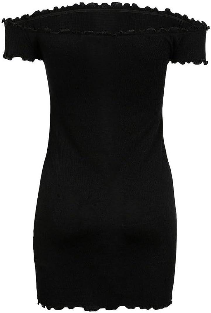 Zarupeng Damen Schulterfrei Kleider Schwarz Minikleid Frauen Kurzarm Crimpen Party Kleid