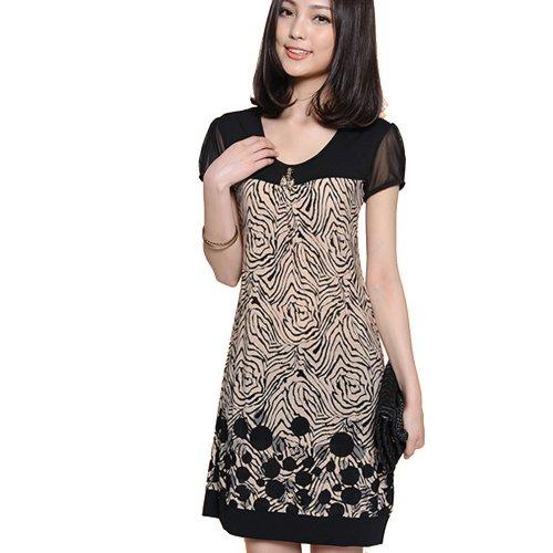 Zeagoo Women's Splice Suit Pattern Short Sleeve Loose Dress Black M