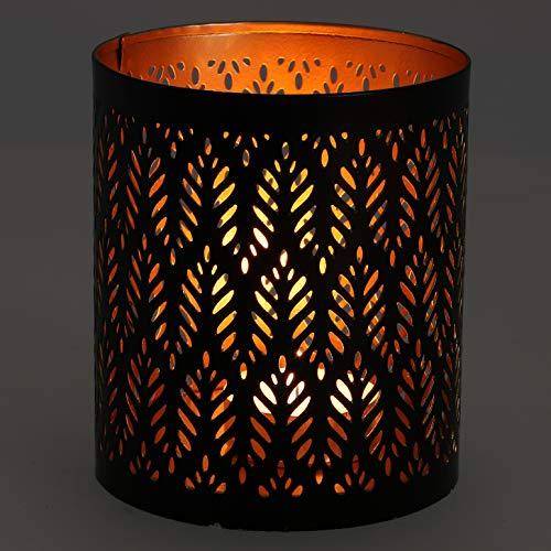 Guru-Shop Filigraan Oosterse Metalen Lantaarn, Theelichtlamp met Fijn Gefreesd Design - Motief 5, Bruin, Maat: Groot (10x9cm), Theelichthouder Kaarshouder