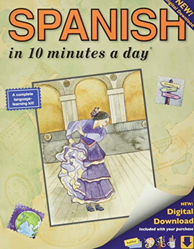 SPANISH in 10 minutes a day: Language course for beginning and advanced study. Includes Workbook, Flash Cards, Sticky Labels, Menu Guide, Software, ... Grammar. Bilingual Books, Inc. (Publisher)