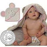 Nu-mi Babyhandtuch mit Kapuze, Bambus-Baumwolle, Elefanten-Design, weiche Kapuzenhandtücher mit Ohren und Kapuze, für Babys, Kleinkinder, Geschenkverpackung, Geschenk für Jungen und Mädchen