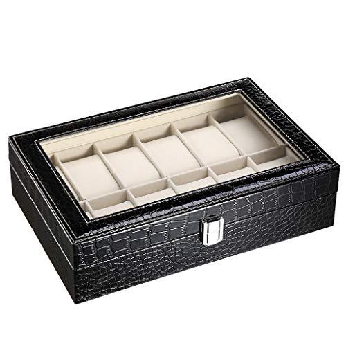 CRITIRON 12 Slot Caja para Relojes, Piel de Cocodrilo, Estuche para Relojes para Hombres, Caja para Relojes y Joyas