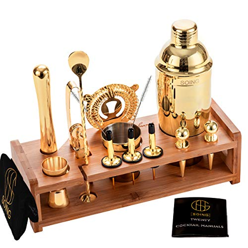 Gold 24-Piece Cocktail Shaker Set Perfect Home Bartending Kit for Drink Mixing,Stainless Steel Bar Tools With Stand,Velvet Carry Bag & Recipes Included(Gold)