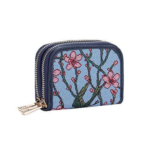 Signare Tapestry Arazzo Porta Carte di Credito, Portafoglio Donna, con doppia zip e blocco RFID con Disegni da Giardino (Blossom and Swallow)
