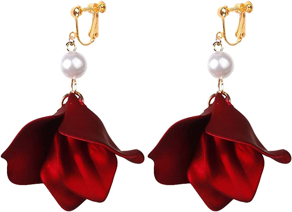 Gold Plated Clip on Earrings Trendy Rose Flower Petal Dangle Simulated Pearl Drop for Girls Women