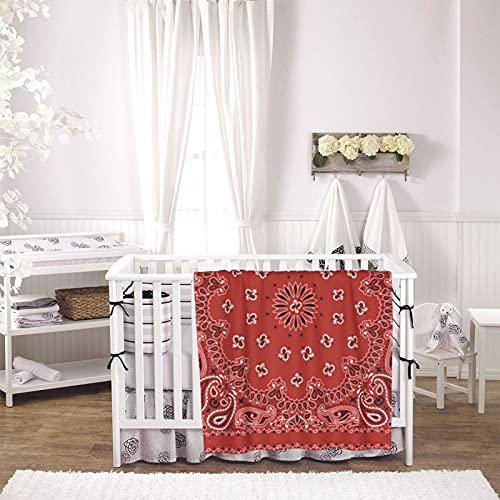 Red Bandana Pattern Unisex Plush Blanket Infant Newborn Receiving Blanket for Crib Stroller Travel Decorative One Size Black