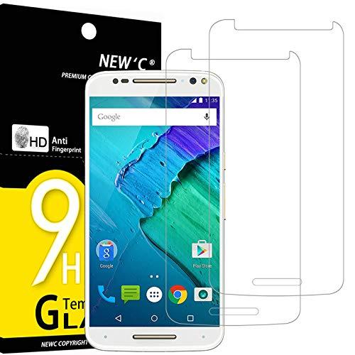 NEW'C 2 Stück, Schutzfolie Panzerglas für Motorola Moto X Style, Frei von Kratzern, 9H Festigkeit, HD Bildschirmschutzfolie, 0.33mm Ultra-klar, Ultrawiderstandsfähig