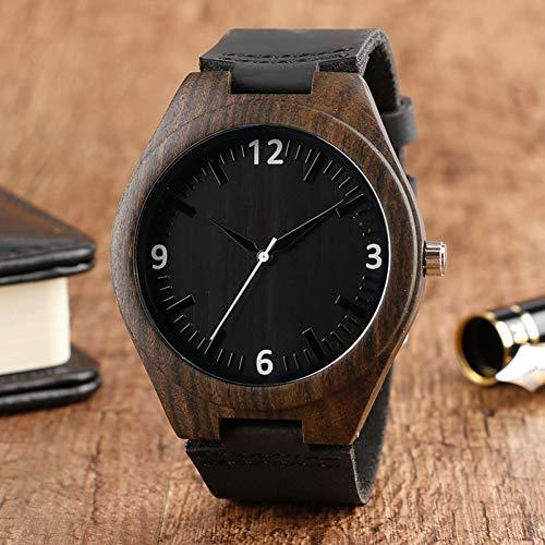 MFWLGK Retro Holzuhr Analog Bamboo Handmade Wooden Clock Herren Leder Armreif Quarzuhr