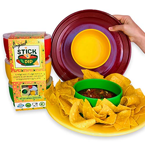 Stick & Dip Silicone Fiesta Taco Party Dipping Salsa Bowls (Set of 3)