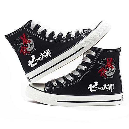 LKKOY Impression Partielle en Haut (The Seven Deadly Sins) High Gang Dessin Animé Anime Toile Chaussures avec Aime 3D Garçons Les Filles Casual Antidérapant Sneakers,Black 39
