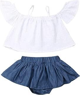 Toddler Baby Girls Halter Ruffle Flying Sleeve Shirt Tops Skirt Short Pant