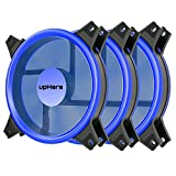 upHere 120mm Blue LED Computer Case Fan Silent Fan for Computer Cases, CPU Coolers, and Radiators Ultra Quiet, Premium Edition,3 Pin 3 Pack/B12CM3-3