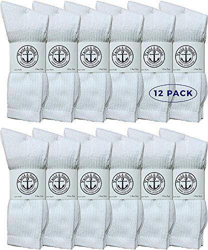 Yacht & Smith Wholesale Bulk Womens Crew Socks, Cotton Sport Athletic Socks - Size 9-11 (White, 12)