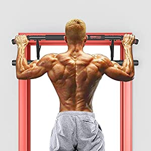 Docilaso Multi-Gym Chin-Up/Pull-Up Bar, Heavy Duty Doorway Trainer for Home Portable Gym No Need to Assemble - Angled GripHelp Protect Wrists
