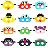 MALLMALL6 12Pcs Elmo Masks Cookie Monster Felt Mask Dress Up Costumes Birthday Party Favors Pretend Play Accessories Photo Booth Props Animation Cartoon Party Supplies Big Bird Ernie for Kids
