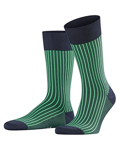 FALKE Men Oxford Stripe Socks - Cotton Blend, Blue (Marine 6120), UK 8.5-9.5 (Manufacturer size: 43-44), 1 Pair