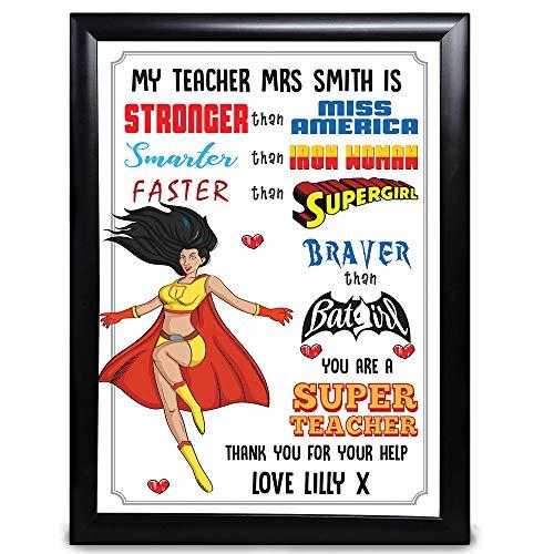 Regalos personalizados para profesores, gracias por tu ayuda, eres un superprofesor con Miss America, Iron Woman, Supergirl de niños y estudiantes, fin de año, de guardería, regalo personalizado