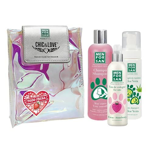 Pack Higiene y Belleza para Gatos Menforsan   Champú Muy Suave Gatos 300ml   Colonia Fresa para Gatos 125ml   Champú en Espuma para Perros y Gatos 200ml   Rico Aroma a Fresa